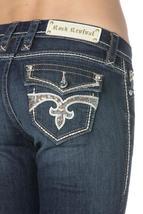 Rock Revival Women's Premium Boot Cut Dark Denim Rhinestone Jeans Noho BE402 image 4