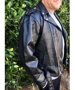 Black Genuine Leather Motorcycle Jacket - Diamond Plate, Size XL - $106.95