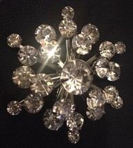 "Exquisite Vintage Silver Tone Rhinestone Pin 2"" Excellent! - $10.40"