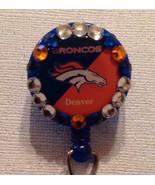 Nfl Denver Broncos Badge Reel Id Holder Swarovski blue orange alligator ... - $10.99