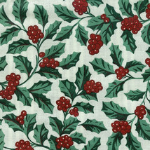 Longaberger 1995 Christmas Cranberry Basket Trad Holly SU Fabric Liner Only - $12.82