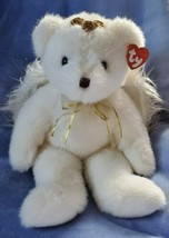 """Beanie Bear Angel 14""""by9""""  """"Divine"""" angel wings white w/gold accents&nec... - $7.91"""