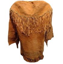 Men's New Native American Mountain Man Golden Brown Buckskin Goat Suede Shirt G8 image 4