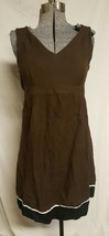 Motherhood Maternity brown knee length dress sleeveless large l ties - $17.41