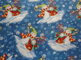 Vignettes di Pupazzo Neve Family-Blue B/G W/Bianco Snowflakes- General F... - $18.63