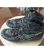 ASICS Spilt Second Black/white Mesh Wrestling Shoes Mens 12 - $32.27