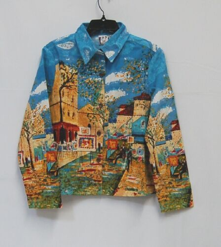 Take Two Clothing Co Light Jacket Layering Shirt Medium Multi Bright Colors