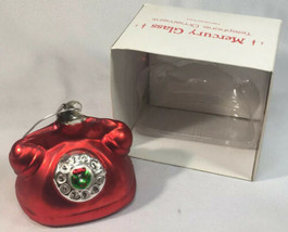 Department 56 Hand blown Mercury Glass Red Rotary Phone Ornament HTF ALOB0007 - $47.40