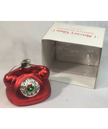 Department 56 Hand blown Mercury Glass Red Rotary Phone Ornament HTF ALO... - $47.40