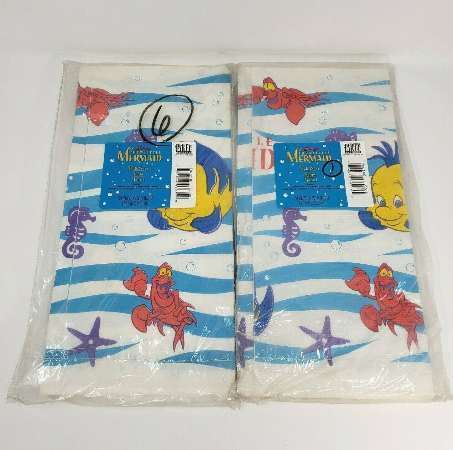 "Primary image for 2 VINTAGE HALLMARK DISNEY LITTLE MERMAID PAPER TABLE COVERS 54"" x 89"" BIRTHDAY"