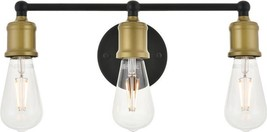SERIF Wall Sconce Mid-Century Modern 3-Light Brass Black - $109.00