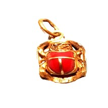 gold with red stone ancient egyptian scarab approx 3x2 found in desert in 1980 - $1,950.00