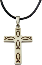 SILVER TONED RELIGIOUS NECKLACE PENDANT ON ADJUSTABLE ROPE CORD FOR MEN ... - $24.63