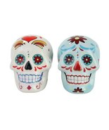 Day of the Dead White and Blue Sugar Skull Design Salt and Pepper Shaker... - $12.86