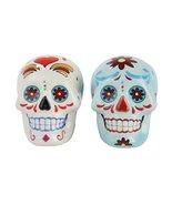 1 X Day of Dead Sugar White & Blue Skulls Salt & Pepper Shakers Set- Sku... - $14.99