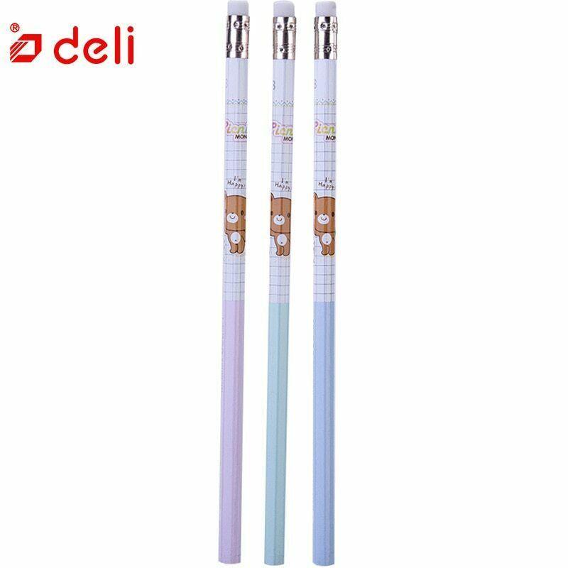 Deli® Pencil 12Pcs Cute Carbon Black Pencil Wood Standard 2B Pencils With Eraser image 2