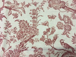 Stroheim and Romann Floral Red Toile with Birds Multi-purpose Fabric 2.3... - $67.69