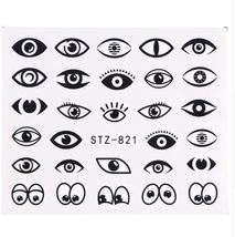 "HS Store -1pcs Nail Art ""STZ-821"" Cute Eyes Designs Nail Stickers Water ... - $2.51"