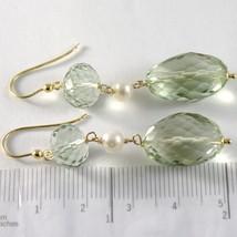 Boucles D'Oreilles or Jaune 750 18k Pendentifs 5 cm,Prasiolite Coupe Oreiller et image 2