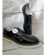 Hogan Black Patent Leather Loafers White Rubber Sole Lace Up Wing Tip New 9 - $207.90