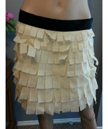 J Crew Collection Ivory Black Petal Tiered Silk Mini Skirt 4 S - $51.29