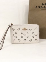 NWT Coach F27464 Corner Zip Wristlet Leather Perforated Flower Chalk Whi... - $44.84