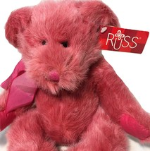 "Luv'ums Plush Teddy Bear Russ Stuffed Animal Magenta Pink Bean Bag Toy 13"" - $24.99"