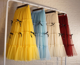 Layered Tulle Skirt Outfit w. Bow Festival Long Tulle Skirt Yellow Blue Wine-red image 1