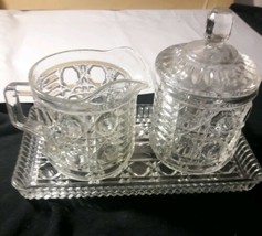 Vintage Matching 4 pc Set of Indiana Presed Glass Sugar and Creamer Geometric  - $14.36