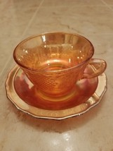 Federal Carnival Glass Iridescent Normandie Marigold Cup & Saucer Set c1... - $8.59