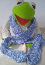 Mix Blue/White Crochet/Knitting scarf with a White/Blue Crochet Trim A2 - $12.99