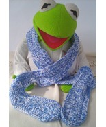 Mix Blue/White Crochet/Knitting scarf with a White/Blue Crochet Trim A2 - $15.99