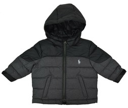 Polo Ralph Lauren Boys Pony Logo Hooded Down Filled Jacket, Grey HTR. 12... - $58.90