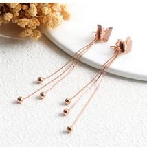 Rose Gold Long Tassel Earrings for Women Pendientes Fashion Jewelry 316l... - $14.12
