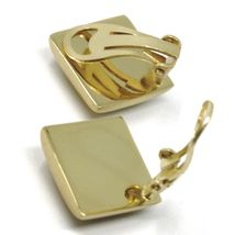 925 STERLING SILVER EARRINGS, 20mm YELLOW RHOMBUS, CLIPS CLOSURE, SATIN FINISH image 3