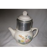 Neat Vintage Porcelier Vitrious China Six Cup Coffee Pot Flowers - $57.87