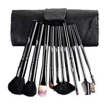 Secret Black Cosmetic Brushes Kit with White PU Bag 11 PCS