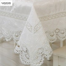 Elegant Lace Tablecloth Table White Wedding Cover Vinyl Dining Linen Pea... - $26.03+