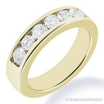 Round Cut Forever Brilliant Moissanite 14k Yellow Gold 7-Stone Band Wedding Ring - €486,18 EUR+