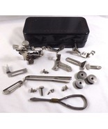 Antique VTG Sewing Machine Attachments Parts Tin box with Contents Mix lot - $43.56