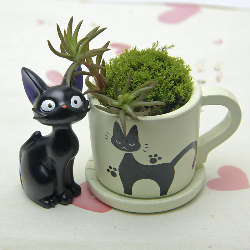 Primary image for Black Cat Figurines Resin Cacti Micro Landscape Flowers Succulent Plants Pot
