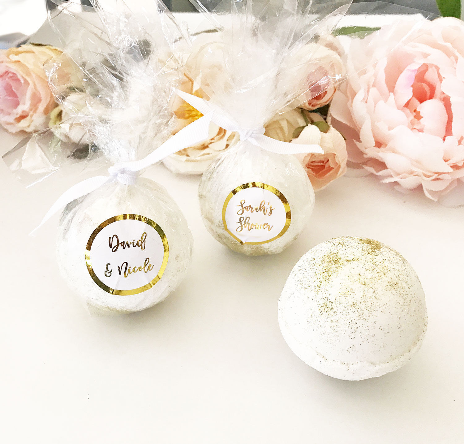 25 Personalized Silver Rose Gold Foil Bath Bomb Bridal Shower Wedding Favor