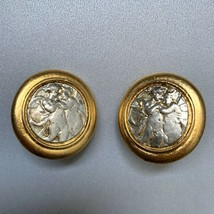Vintage Chunky Round Medallion Angel Cherub Art Design Clip On Earrings ... - $24.70