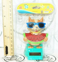 "SOLAR POWER - DOG WITH WATERMELON & SUNGLASSES DANCING TOY 4"" FIGURE NEW - $4.64"