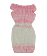 Barbie Doll Clothes Knit Pink and White Off Shoulder Sweater Dress Handmade - $6.99
