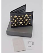 Jimmy Choo Mark Black Leather Star Gold Studded Bifold Wallet New NWT NIB - $310.59