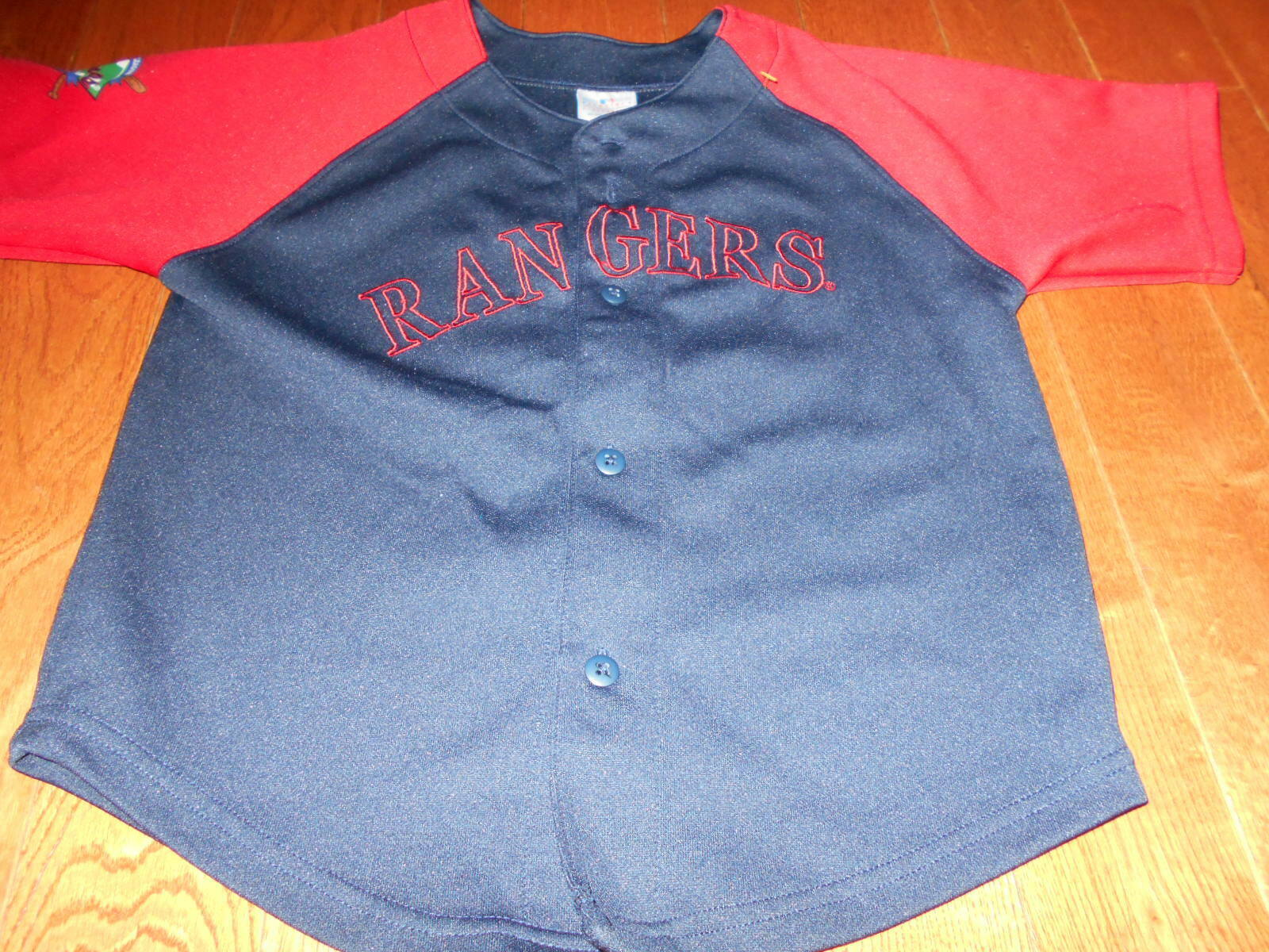 Primary image for (Youth MLB Boys Texas Rangers Scarlet Red Jersey Navy Blue size 7 Baseball shirt
