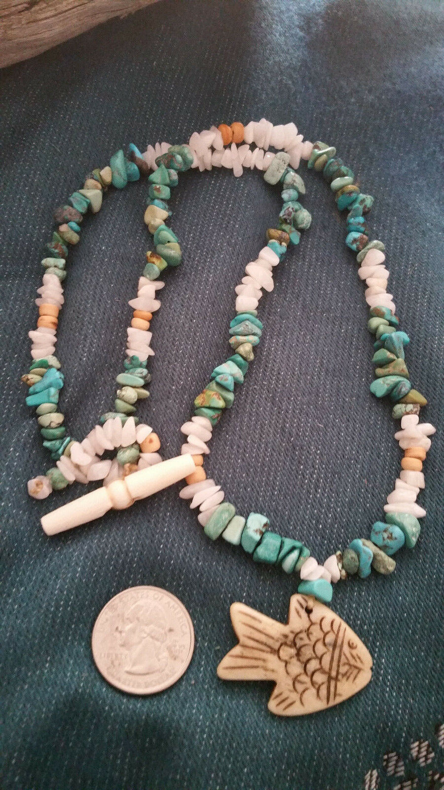 Old Mine Kingman's Turquoise Necklace,w/ Milk quartz, Fish pendant Men or Women image 2