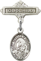 Sterling Silver Baby Badge with St. Bernard of Montjoux Charm Pin 1 X 5/... - $58.43