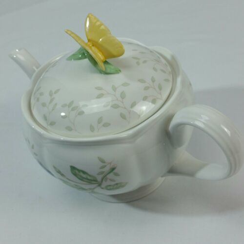 LENOX Butterfly Meadow Teapot with Lid 5 cup kisses Tea Pot White